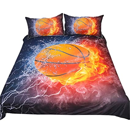 3D Basketball Flame Bedding Set Duvet Cover Basketball Bedding, Basketball  Bedspread 3 Piece Duvet Cover