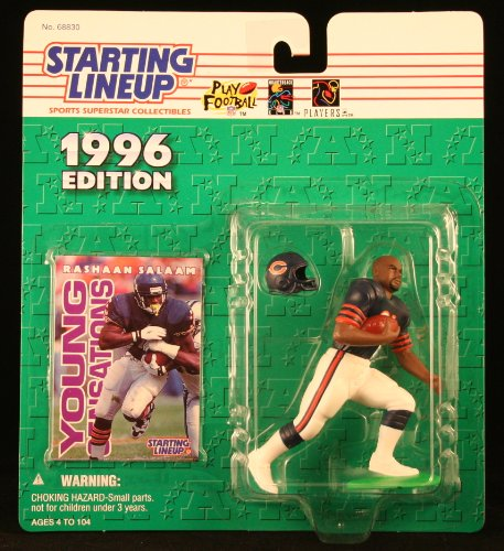 RASHAAN SALAAM / CHICAGO BEARS 1996 NFL Starting Lineup Action Figure & Exclusive NFL Collector Trading Card (Viking Trail Line)