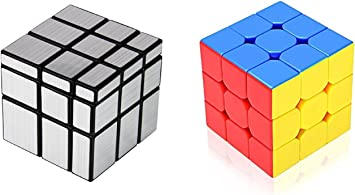 Zaid Collections Rubik Silver Mirror Cube and 3x3 Combo Puzzle Brainstorming Game Toy
