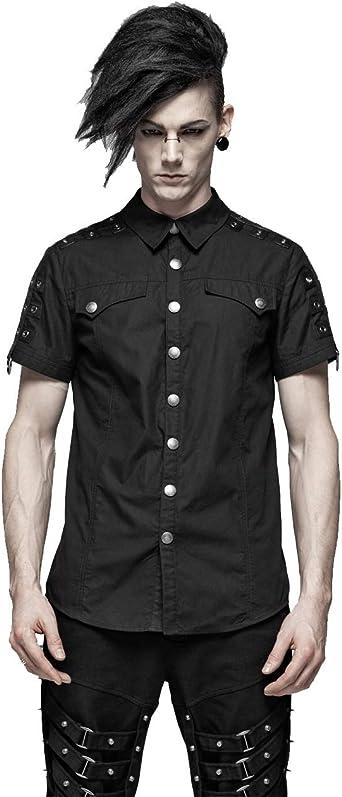 Punk Rave - Camiseta de manga corta para hombre, estilo steampunk, color negro: Amazon.es: Ropa y accesorios