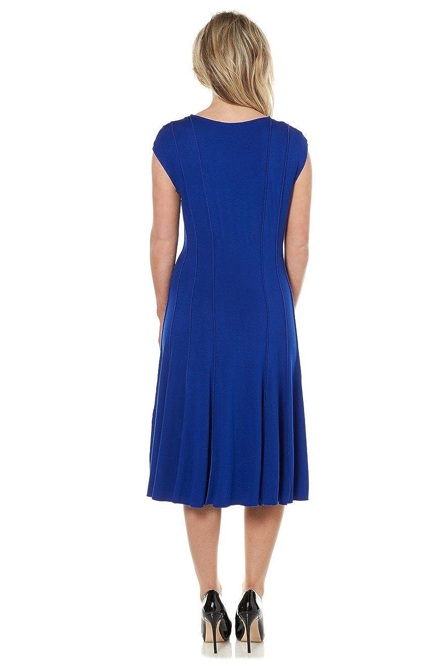 10dfba0bfe5 Roman Women s Plain Panelled Jersey Dress Royal Blue Size 22  Amazon.co.uk   Clothing