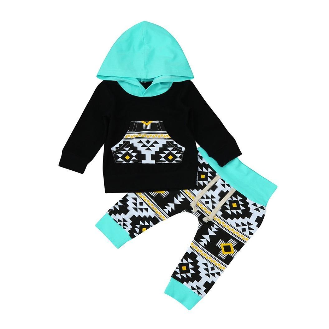 Jchen TM 2pcs Toddler Infant Baby Boy Clothes Set Long Sleeve Geometric Hoodie Tops+Pants Outfits