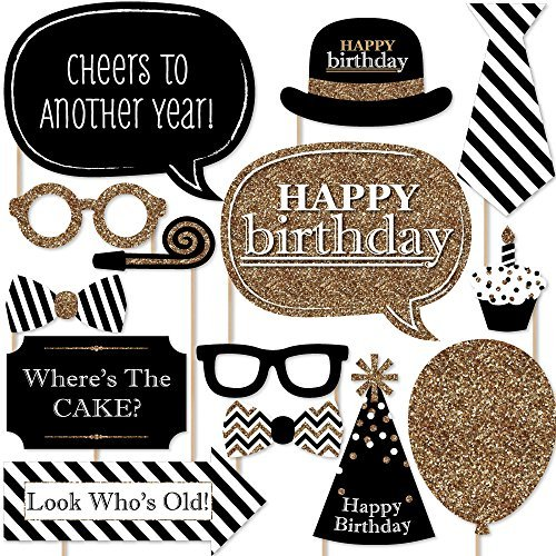 Big Dot of Happiness Adult Happy Birthday - Gold - Birthday Party Photo Booth Props Kit - 20 Count