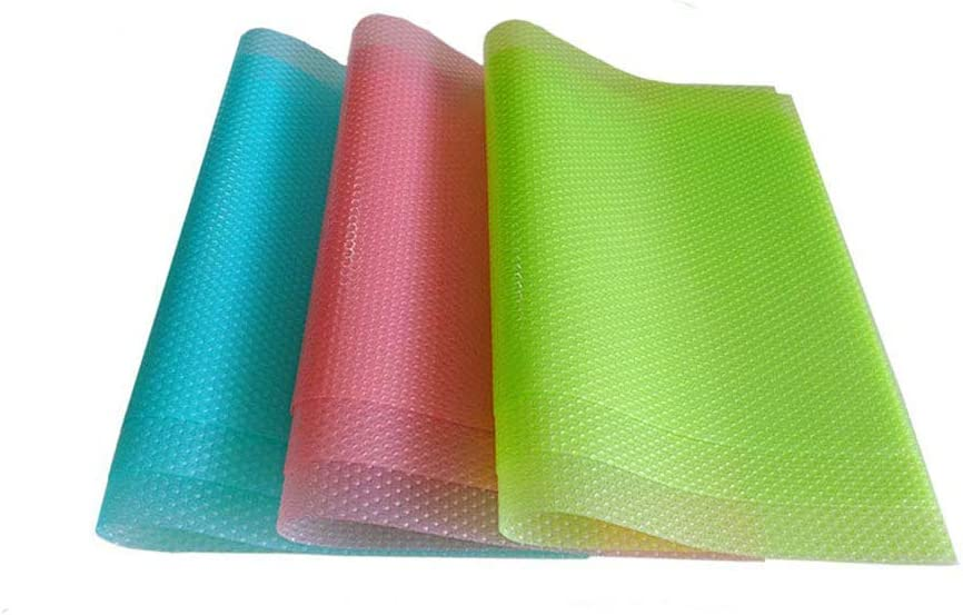 Fridge Liners 9PCS EVA Shelf Liners Can Be Cut Washable Refrigerator Pad Mat Fridge Cushion Liner Non-Adhesive Cupboard Liners Non-Slip Cabinet Drawer Table Liners - (3 mixed color,29x45cm)
