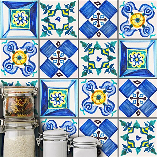 AmazingWall Valencian Traditional Tiles Sticker Wall Art Decor Home Decal Kitchen Bathroom Peel and Stick Easy To Apply