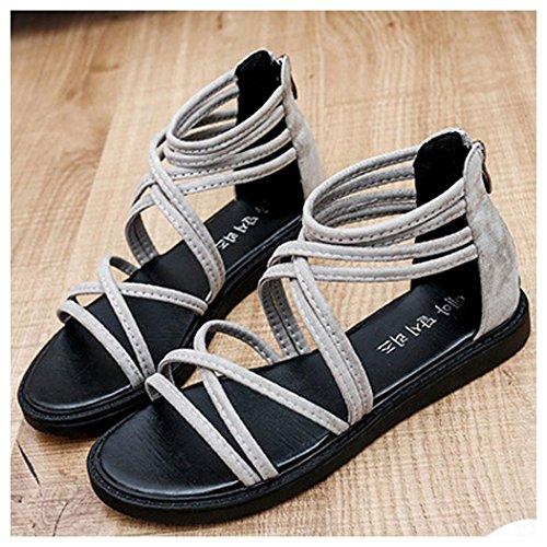 Summer Sandals, Inkach Women Flat PeepToe Shoes Bandage Bohemia Sandals Gray