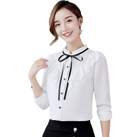 f0a80a006 T T Store Women Blouse Shirts Chiffon Long Sleeve Spring Summer Style  Ruffles Office Shirt Slim Blusas