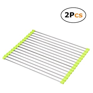 Dish Drying Rack Large Stainless Steel Over the Sink Folding Roll-Up Dish Draining Rack 2 Pcs (green)