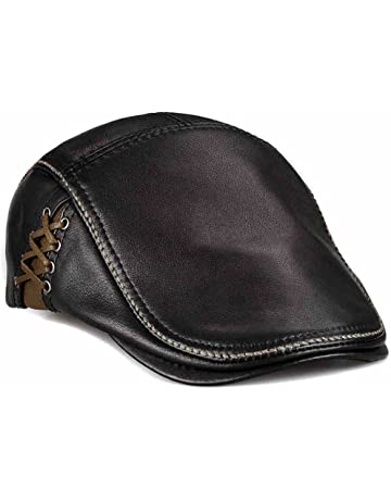 LETHMIK Unique Flat Cap Hunting Cowhide Leather Driver Ivy Cap Newsboy Hat  Black 9e4d64a68046