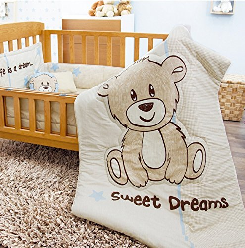 - NEW PRETTY COLLECTION TEDDY BEAR SWEET DREAMS BABY BOYS NURSERY CRIB BEDDING SET 6 PCS