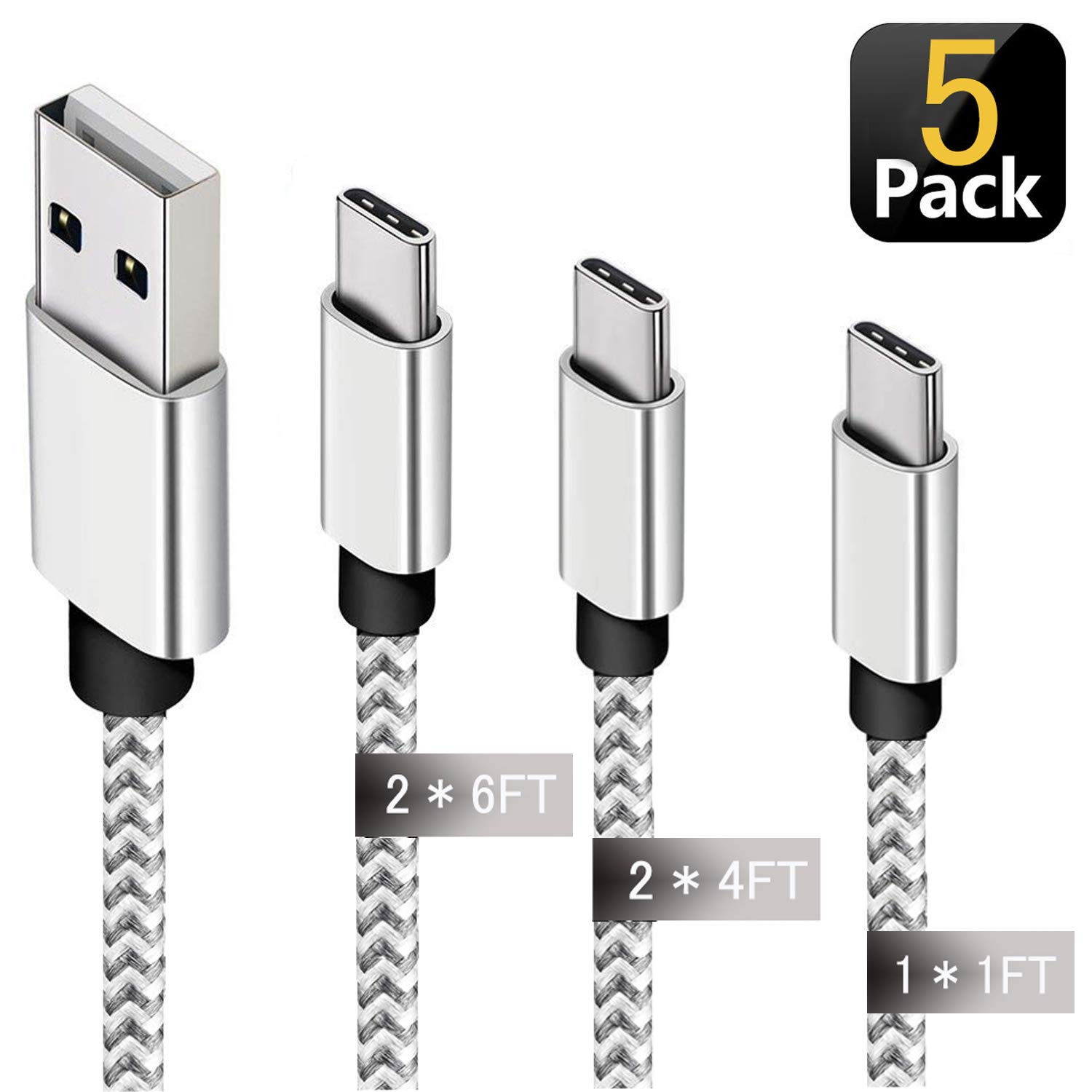 KeepMini USB Type C Cable 5 Pack Fast Charger USB A 2.0 to USB-C Nylon Braided USB C Cable Compatible Samsung Galaxy S10 S9 Plus Note 9 8,Google Pixel (1x1ft,2x4ft, 2x6ft) - Silver