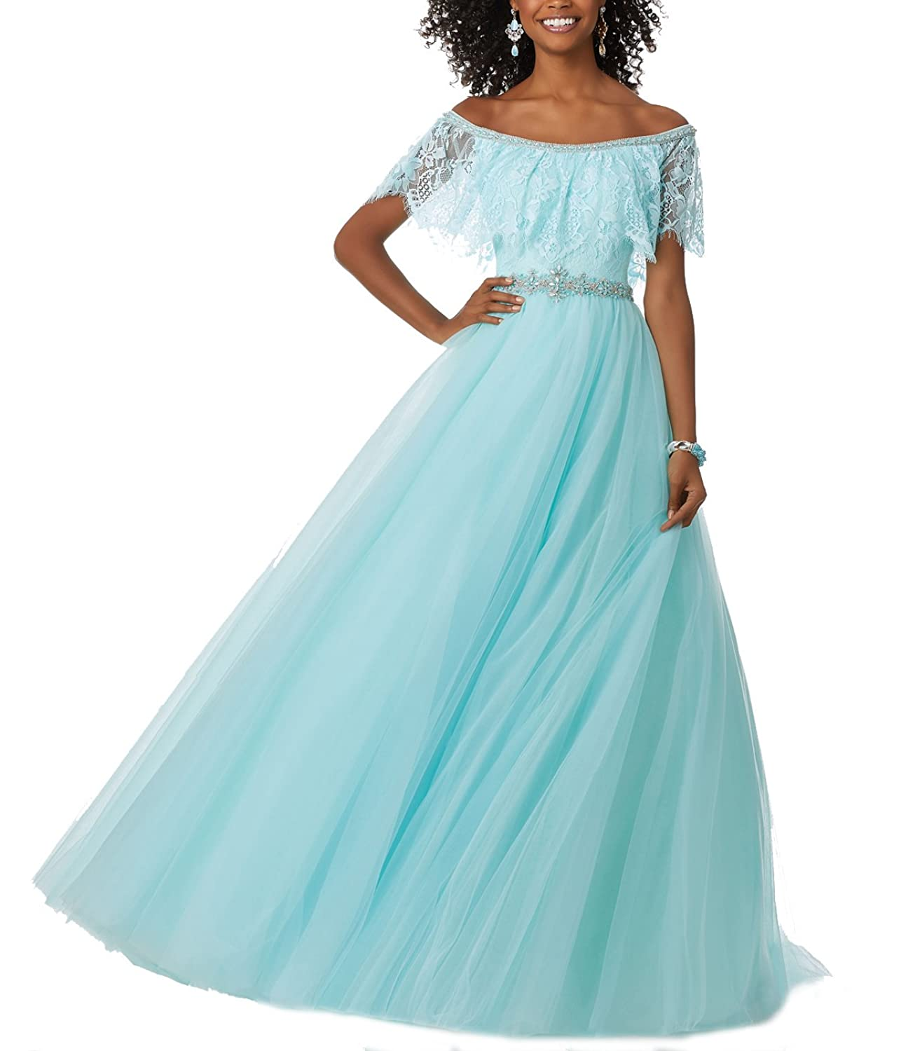 Off the Shoulder Flounced Lace Bodice Prom Dresses Beaded Tulle Long ...