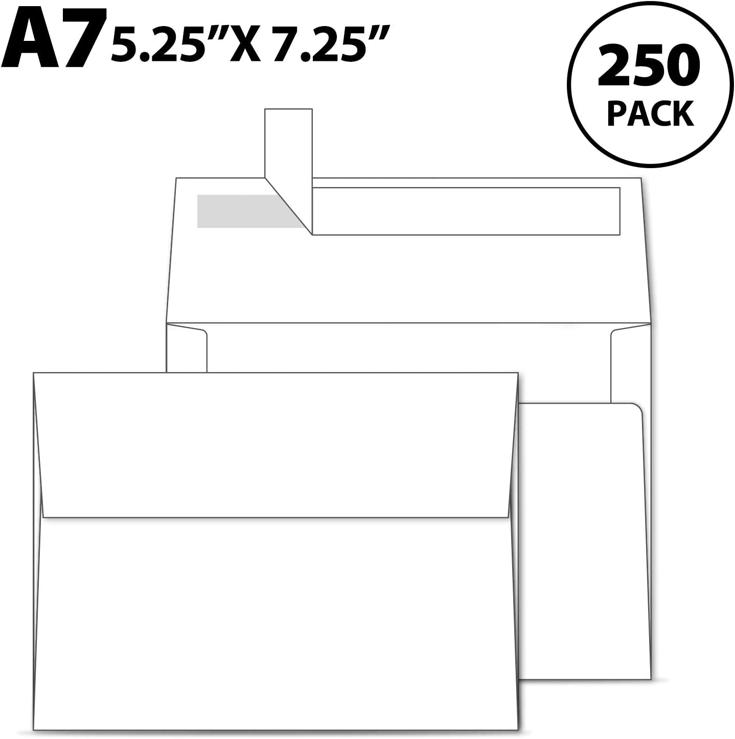 Ohuhu A7 Printable White Envelopes 5X7 250 Pack - Quick Self Seal,for 5x7 Cards, Perfect for Chirstmas Cards, Weddings, Invitations, Photos, Graduation, Baby Shower, 5.25 x 7.25 inches