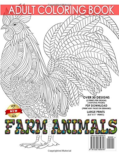 Amazon.com: Farm Animals Adult Coloring Book: Farm Animal Design ...