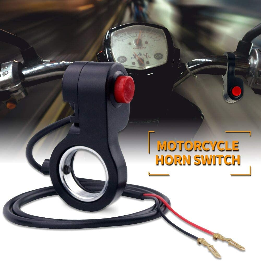 Biqing 7//8 inch Interrupteur de Moto,Universel Commutateur de Guidon de Moto 12V /Étanche Commutateur de Klaxon de Guidon de Moto Bouton ON//OFF