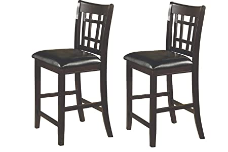 Lavon 24 Counter Stools Black and Espresso Set of 2