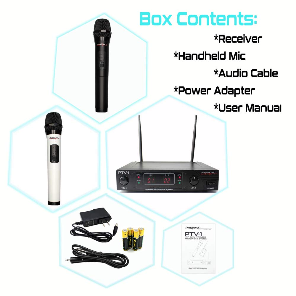 Microphone System Diagram Electrical Wiring Diagrams Pro Audio Amazon Com Phenyx Dual Vhf Wireless Two Mic