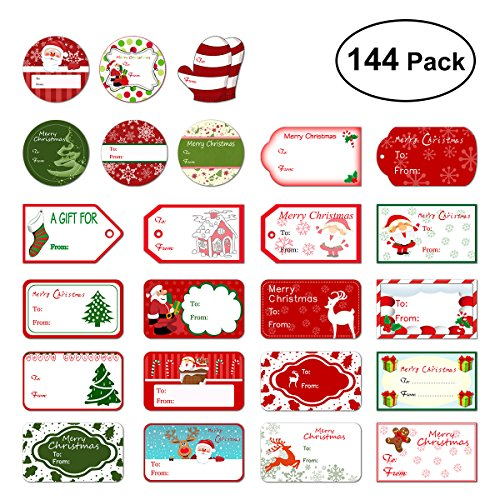 Christmas Gifts For Friend - Tinksky Christmas Self Adhesive Gift Tag Stickers Santa Snowmen Xmas Tree Deer Christmas Festival Birthday Wedding Holiday Decorative Presents Labels Decals Christmas Gift for friends 144 pack