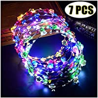 Coxeer 7 PCS LED Flower Headpiece Crown For Girls Women Wedding Festival Holiday Christmas Halloween Party