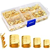 KeeYees 500 Pcs U Shape Copper Ring Terminals Crimp Kit - Non-Insulated Assortment Cable Wire Spade Electric Butt Connector K