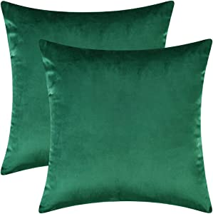 "Artcest Set of 2, Cozy Solid Velvet Throw Pillow Case Decorative Couch Cushion Cover Soft Sofa Euro Sham with Zipper Hidden, 18""x18"" (Dark Green)"