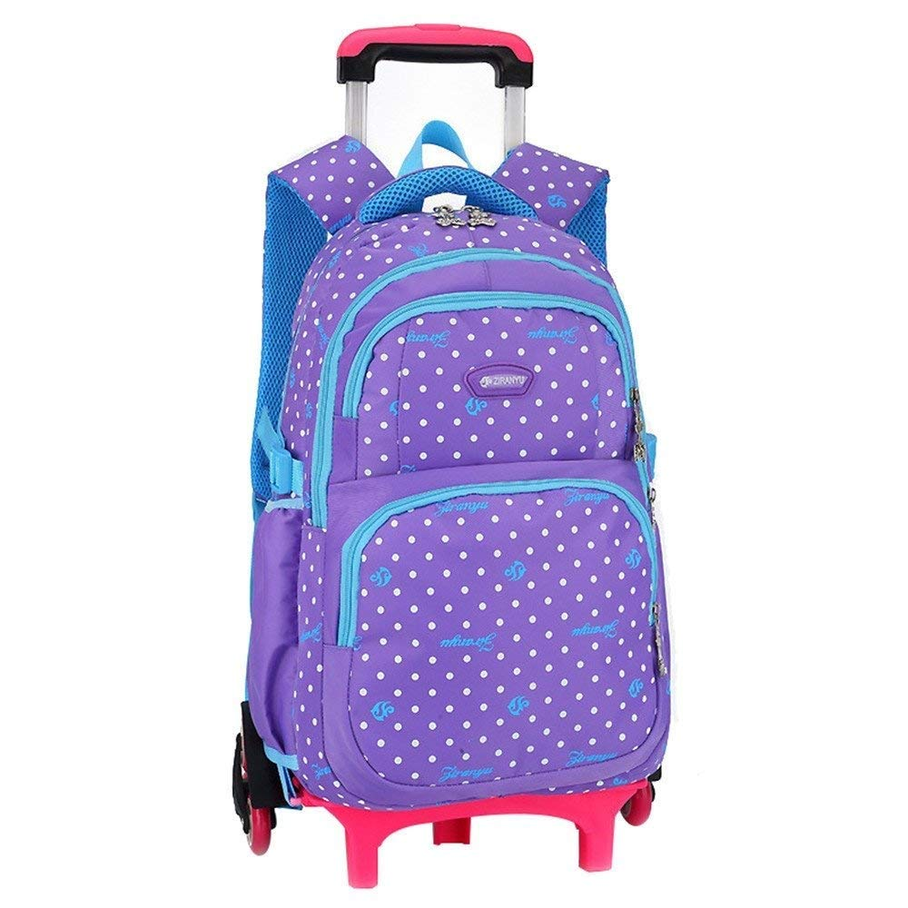 purple One Size Lounayy Hot Sales School 3 Dots Trolley Wheel Bags School Backpack Kids School Bag Pattern Removable Backpack Waterproof Men Dchen (color   pink red, Size   One Size)