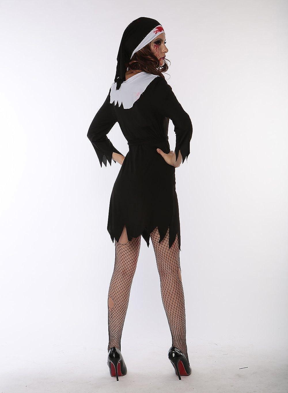 Amazon.com: jj-gogo Halloween Bloody Monja Sexy Costume ...