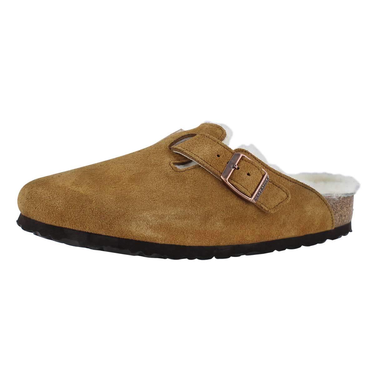 Birkenstock Boston Shearling Leather Slip On Shoes 6 B(M) US Women / 4 D(M) US Mink