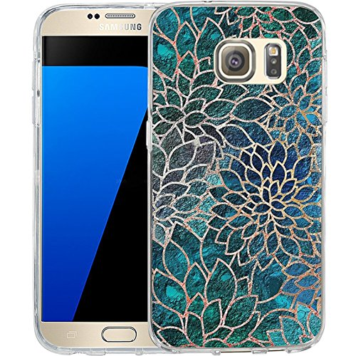 Cell Phone Skin Cover - S7 Case Blue-green gem floral design, LAACO Scratch Resistant TPU Gel Rubber Soft Skin Silicone Protective Case Cover for Samsung Galaxy S7