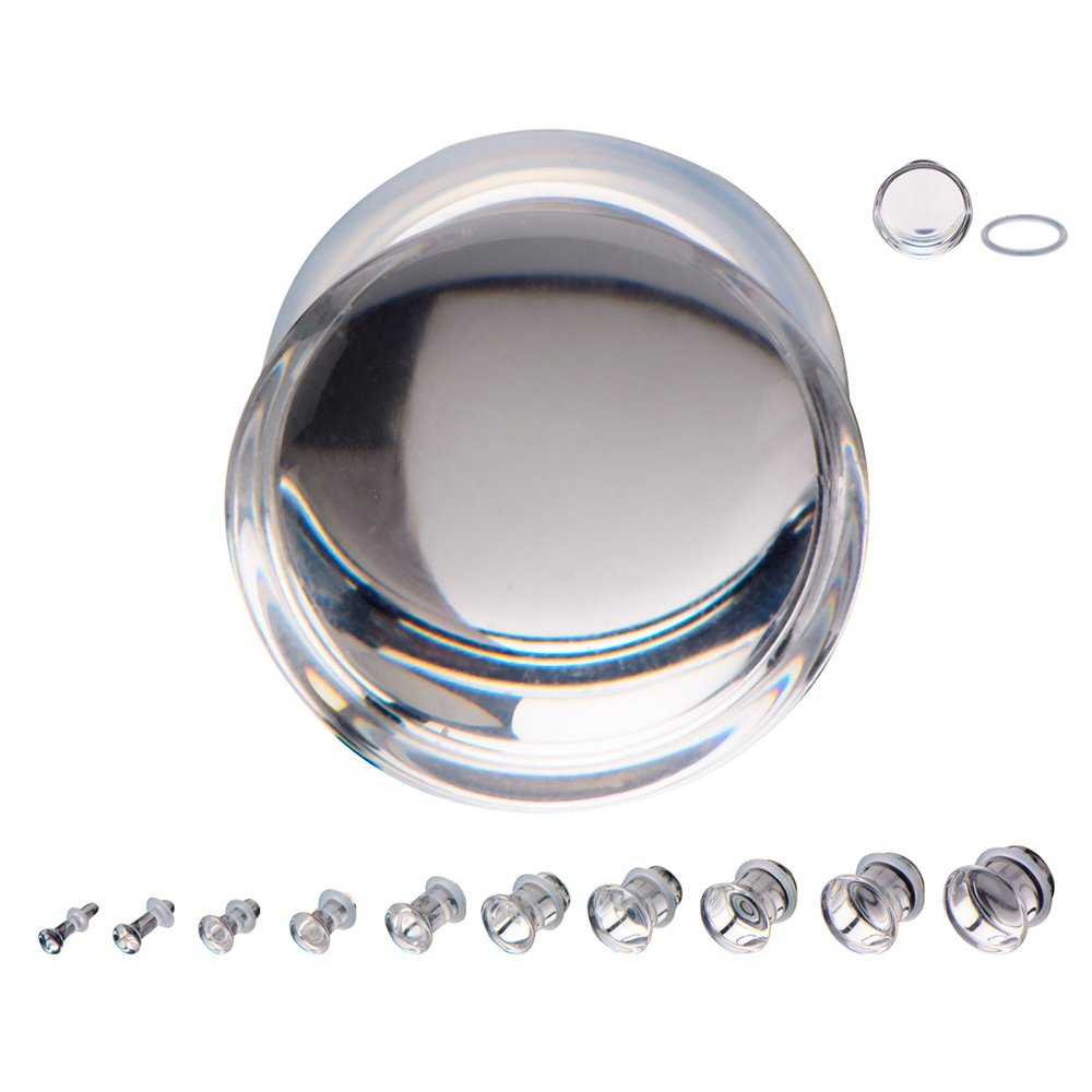 1 Pair of 6 Gauge (6G - 4mm) Clear Glass Plugs - Single Flare (GLS010)