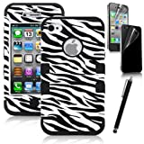 Pandamimi ULAK(TM) Apple iPhone 4 4S Hard Hybrid Case Cover Black White Zebra Black Silicone TUFF + Front and Back Screen Protector + Stylus, Best Gadgets