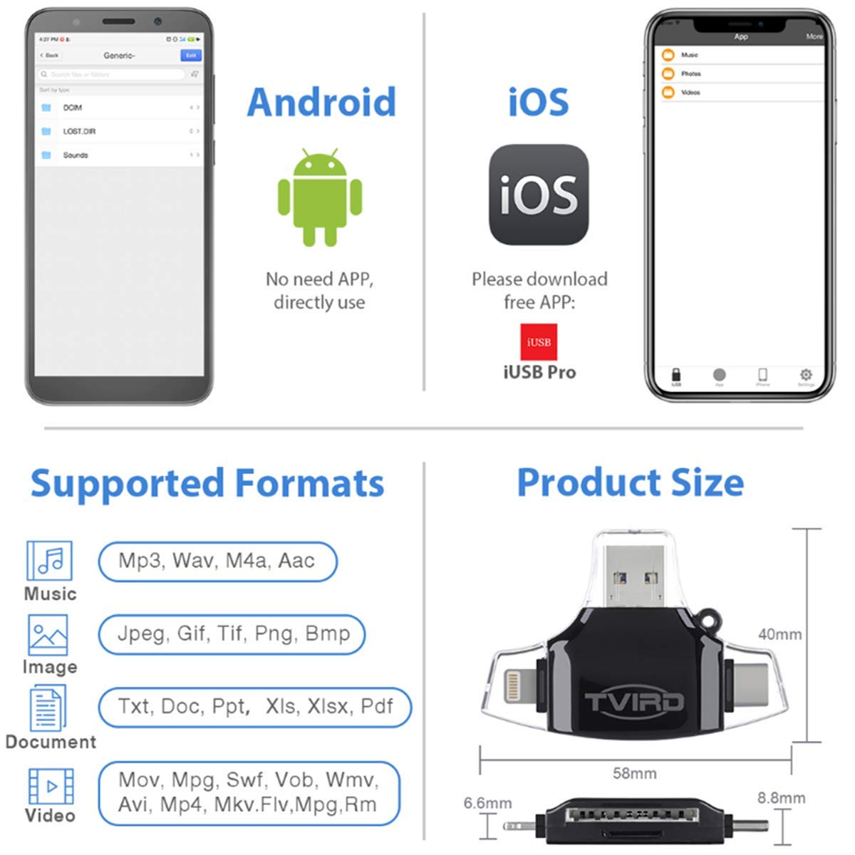 Tvird Kartenleser,Micro SD /& TF Speicherkartenleser 4 in 1 Kartenleseger/ät L.ightning//USB-Typ-C//USB//Micro-USB,Adapter Micro SD Karte OTG Funktion Card Reader Adapter f/ür iOS//Android//PC