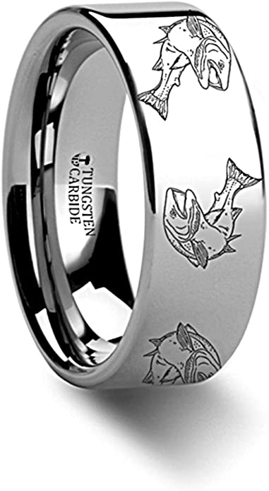 Thorsten Wildlife Sport Fishing Trout Fish Jumping Print Pattern Ring Flat Black Tungsten Ring 8mm Wide Wedding Band from Roy Rose Jewelry