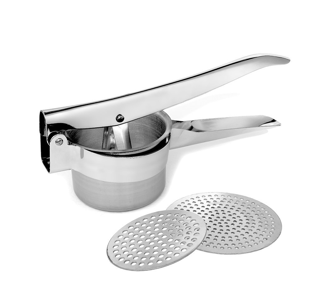 PeakHut Potato Masher / Potato Ricer -100% Food Grade Stainless Steel Perfect for Mashed Potatoes - Potatoes ricer- Baby Food Press, Fruit Press, Vegetable Strainer with 2 Interchangeable Discs