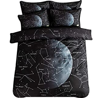 3 Pieces Black Duvet Cover Set, Cotton Bedding Sets 3D Printed Constellation Pattern Quilt Cover Sets with Zipper Home Textile for Kids Teens Unisex,A,Full