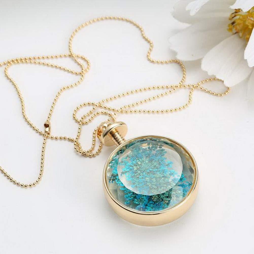 YAZILIND DIY Dried Flower Round Lockets Pendant Chain Necklace Women Birthday Jewelry Gift