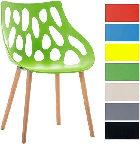 CLP Chaise Retro Hailey en Plastique Chaise Design Pieds en Bois d'Hêtre Hauteur Assise 44 cm Chaise de Salle à Manger Facile d'entretien