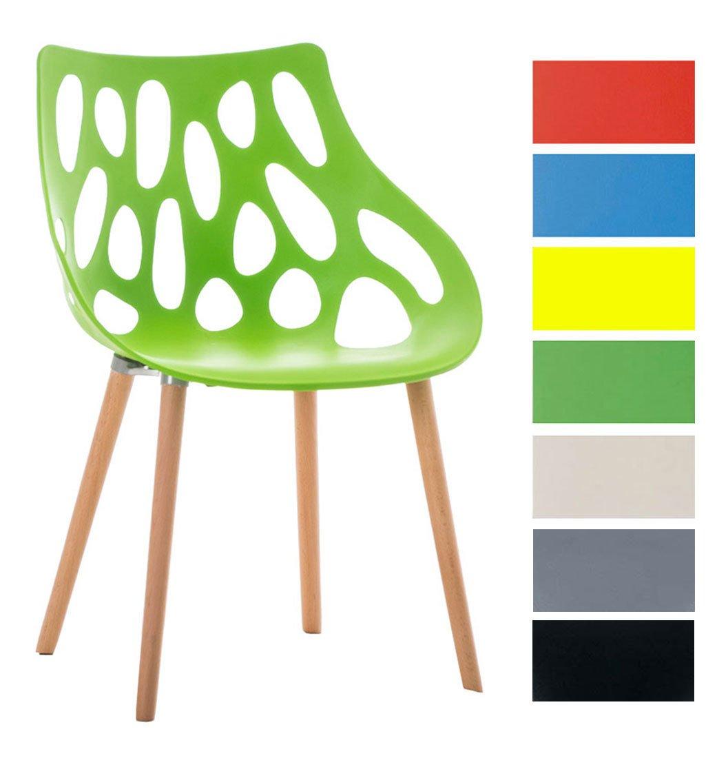 CLP Chaise retro HAILEY design - mélange de plastique et de bois d'hêtre - hauteur de l'assise 44 cm vert
