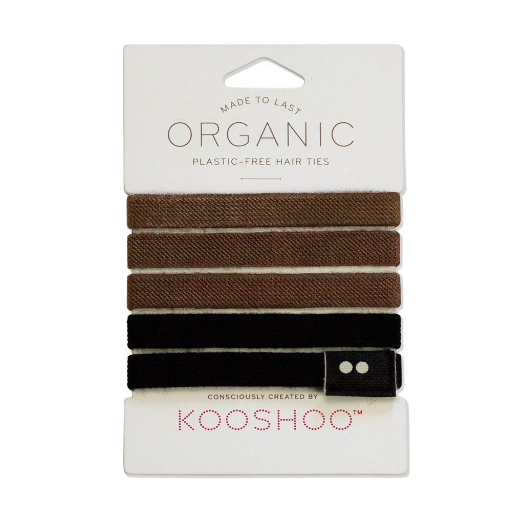 ORGANIC HAIR ELASTICS in BROWN AND BLACK   Biodegradable, Plastic-Free Hair Ties Made in a Fair Trade Certified Facility by KOOSHOO