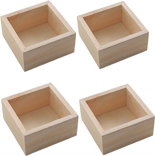DEDC 4Pcs Caja de Madera RúStica de Organizador de Almacenamiento Cajas Artesanales Maceta Suculenta de Madera Caja de Contenedor de Planta Maceta Rectangular: Amazon.es: Jardín