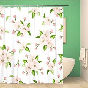 Awowee Bathroom Shower Curtain Vector Seamless Pattern with Pink Apple Blossoms and Green Leaves Polyester Fabric 60x72 inches Waterproof Bath Curtain Set with Hooks
