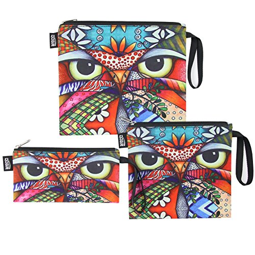 QOGiR Reusable Snack Bags and Sandwich Bags with Handle (Set of 3): Lead-free,BPA-free,PVC-free,FDA PASSED (Owl)