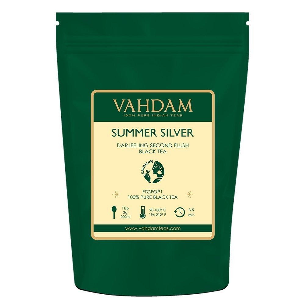 VAHDAM, Second Flush Summer Silver Darjeeling Black Tea (50 Cups) | FRESH & PREMIUM DARJEELING TEA Loose Leaf | 100% PURE UNBLENDED Black Tea Loose Leaf | Brew as Hot Tea, Iced Tea or Latte | 3.53oz