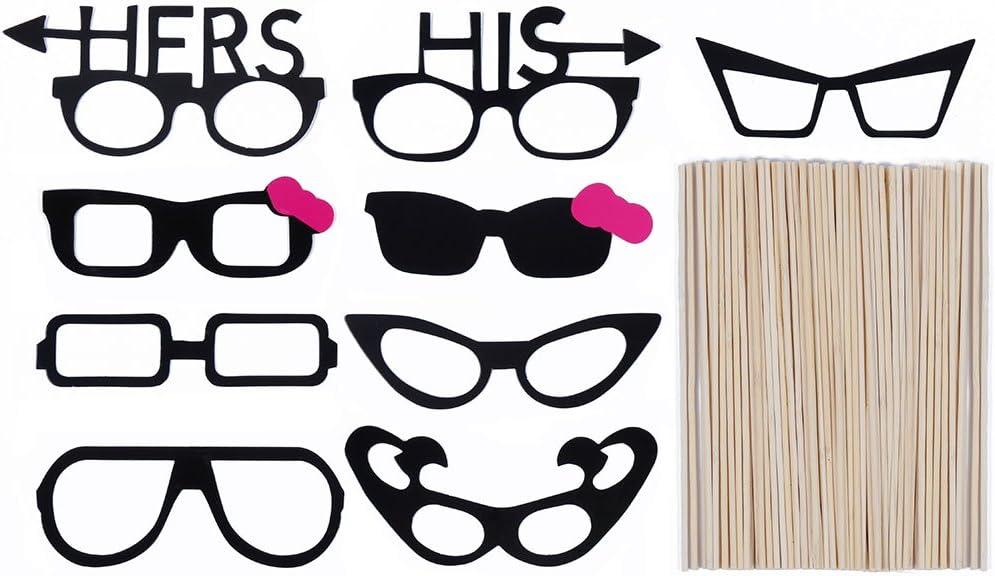 Cravate,etc L/èvres Moustache avec B/âton Lictin 86 Pcs Accessoires Photobooth Mascarade Photo Props DIY Outils pour Tous Les Partie Accessoires de Photos Lunettes