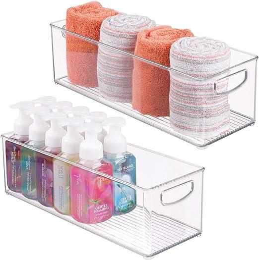 mDesign Juego de 2 cajas de plástico con asas – Organizador ...