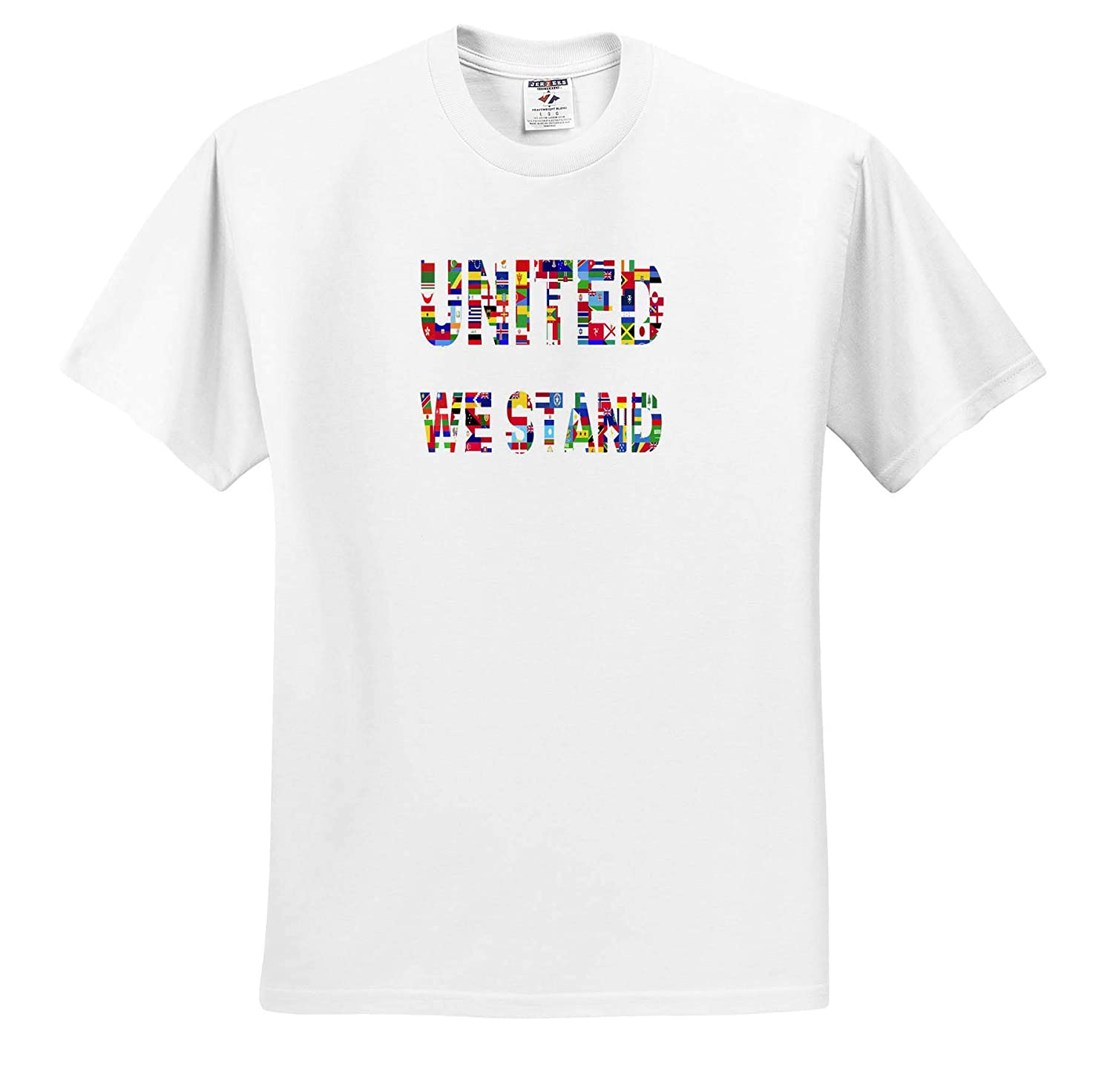 3dRose Lens Art by Florene ts/_316007 Adult T-Shirt XL Politics Image of Flags from World Say United We Stand
