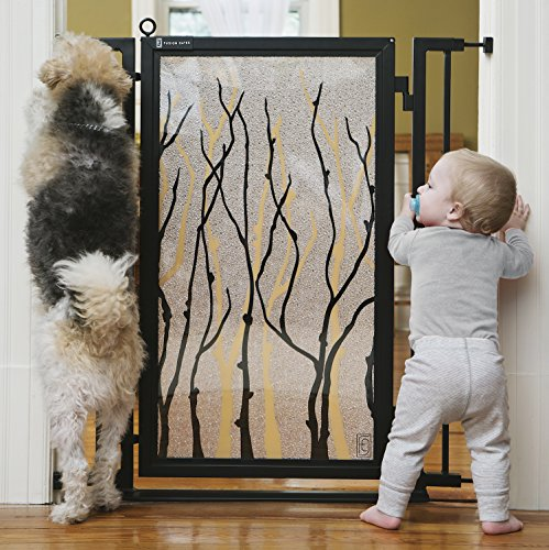 Fusion Gate for Baby & Dogs with Willow Branch Art Screen Design (Black, 36'' - 52'') by Fusion Gates