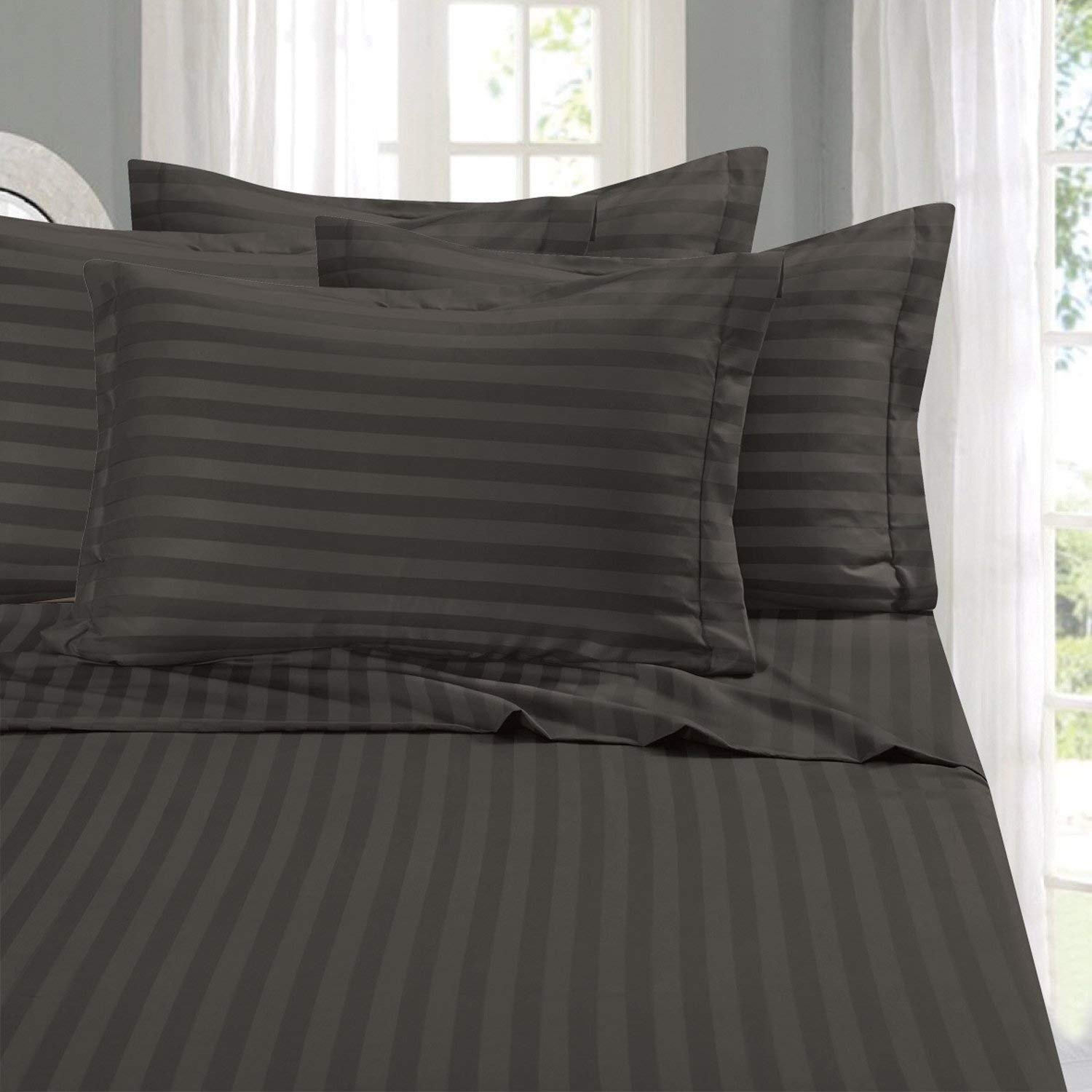 Elegant Comfort Best, Softest, Coziest 6-Piece Sheet Sets! - 1500 Thread Count Egyptian Quality Luxurious Wrinkle Resistant 6-Piece Damask Stripe Bed Sheet Set, California King Grey