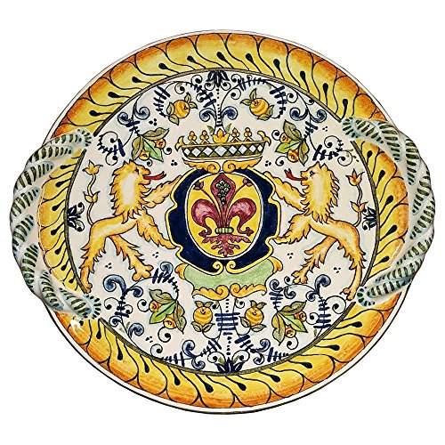 CERAMICHE D'ARTE PARRINI - Italian Ceramic Art Flat Centerpiece Plate Pottery Decorated Hourses Lily Hand Painted Made in ITALY Tuscan
