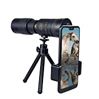 TOSOTO 4K 10-300X40mm Super Telephoto Zoom Monocular Telescope, Waterproof Fogproof Night Vision Monocular with Smartphone Holder and Tripod Perfect for Hiking Camping Bird Watching Best Gifts